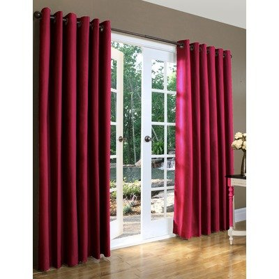 Weathermate Top Thermal Grommet - Thermalogic Weathermate Solid Insulated Grommet Top Curtain Panel/Pairs-Burgundy, 80 x 63