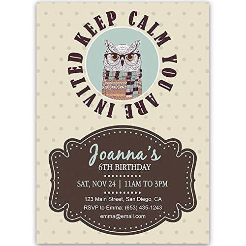 Amazon keep calm owl birthday party invitations handmade keep calm owl birthday party invitations filmwisefo
