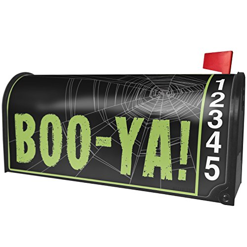 NEONBLOND Boo-YA! Halloween Creepy Green Spider Web Magnetic Mailbox Cover Custom -