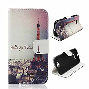 BLU Life Pure Mini Case , BESTSOOP Brand New Leather Case Slim Wallet with Stand Flip Case Credit Card Holder Slots Accessories For BLU Life Pure Mini L220A with 1 Stylus (Love Paris Eiffel Tower)