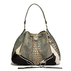 Crocodile Leather Handbag With Brindle Drawstring And Crystals