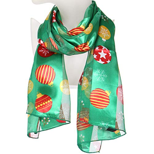 Christmas Xmas Satin Winter Scarf, Lightweight Soft Wrap Shawl Scarves, Ornaments Green