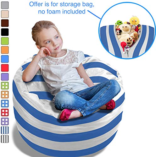 BeanBob Stuffed Animal Storage Bean Bag Chair w/Blue & White Stripes - 2.5ft Large Fill & Chill Space Saving Toy Organizer for Children - for Blankets, Teddy Bears, Clothes & Bedding by BeanBob