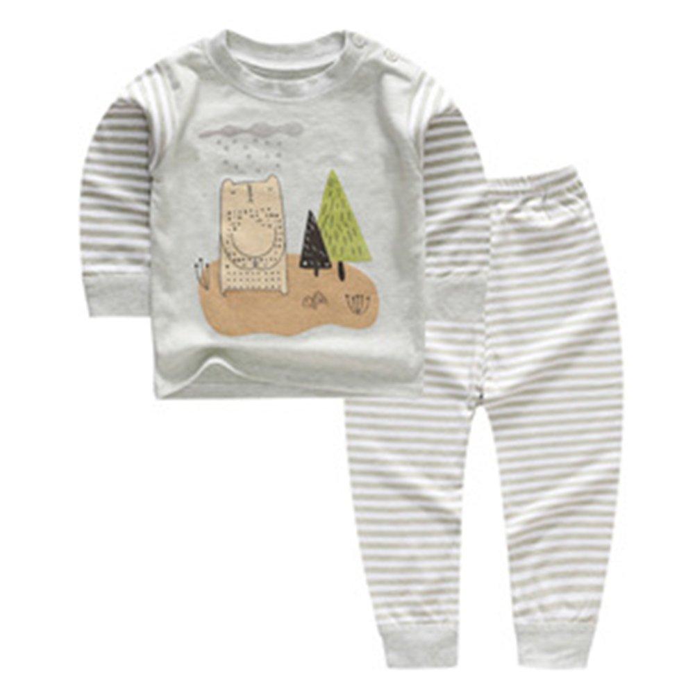 Meedot Baby Boys Girls Cotton Fleece Pajamas, Cute Cartoon Print Longjohns Underwear Set for 0-5 Years Old Kids M171115QK-MD