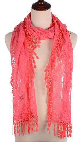 BYOS Womens Fashion Floral Pattern Lace Scarf Shawl With Tassel (Coral) Coral Db Coral