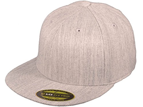 - Premium Original Blank Flexfit Flatbill Fitted 210 Hat (XXL, Heather Grey)
