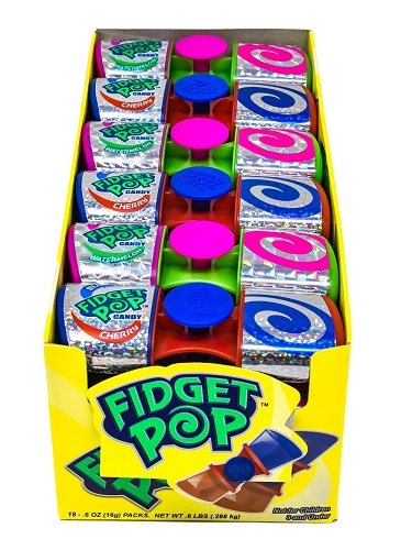 Fidget Pop - Spinner with 2 delicious lollipops! Each box contains 18 16g pops