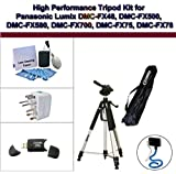 High Performance Tripod Kit for Panasonic Lumix DMC-FX48, DMC-FX500, DMC-FX580, DMC-FX700, DMC-FX75, DMC-FX78; Flexible Monopod, Universal Adapter, USB 2.0, and 5PC Lens Cleaning Kit