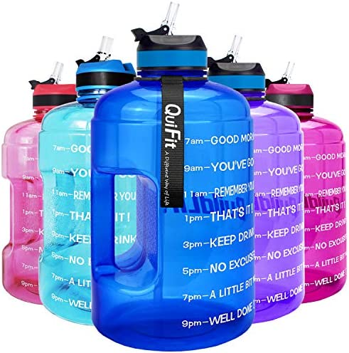Non-Toxic BPA /& DEHP Free Hydra Quater Gallon Water Jug Like Hydro Jug 1.3 Liters Water jug for Workout Fitness with Carry Strap Water Bottle with Flip Top Leak Proof Lid