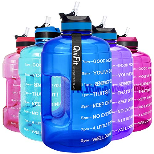 QuiFit Motivational Gallon Water Bottle - with Straw & Time Marker BPA Free Large Reusable Sport Water Jug with Handle for Fitness Outdoor Enthusiasts Leak-Proof