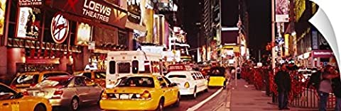 Canvas On Demand Wall Peel Wall Art Print entitled Cars on the road, Times Square, Manhattan, New York City, New York (72 Hours New York Times)