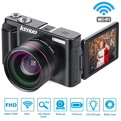 KENUO Digital Camera Vlogging Camcorder Recorder FHD 1080P 30FPS YouTube Video Camera with Wide Angle Lens MAX 24.0MP 3.0 Inch 180°Rotation Flip Screen 16X Digital Zoom Webcam Camera
