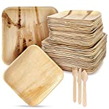 """Palm Leaf Plates and Cutlery – 125pc. Disposable Eco-Friendly Dinnerware Set – Convenient Pack of 25 – 10"""" Dinner and 8"""" Salad Plates – Bio-Degradable – Ideal for Parties, Camping, Special Events"""