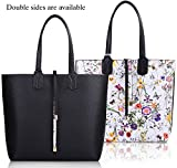 COOFIT Reversable Tote Bag Womens Purses and Handbags Shoulder Bag Black