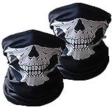 Image of Motorcycle Riding Mask Tube Skull Face Mask Multifunctional Outdoor Mask Bandana Beanie Scraf Headband Muffler 2PCS (White 2PCS)
