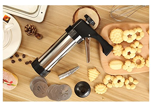 YIYATOO Stainless Steel Biscuit Cookie Press Gun,13 Stainless Steel Cookie Discs and 8 Icing Tips by Yiyatoo (Image #3)