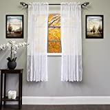 Sweet Home Collection Window Curtain Treatment 84'' Long in Stylish and Unique Patterns, 63'' Panel, Songbird White