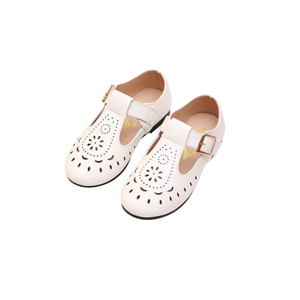 FENICAL Girls Shoes Princess Kids PU Leather Hollow Sandal Breathable Toddler White
