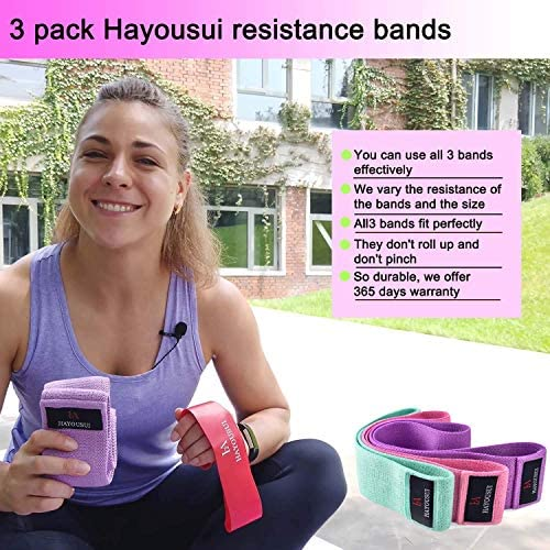 Hayousui Exercise Resistance Bands for Women - Hip Booty Bands Stretch Workout Bands Cotton Resistance Band for Legs and Butt Body Yoga Pilates Muscle Training 4