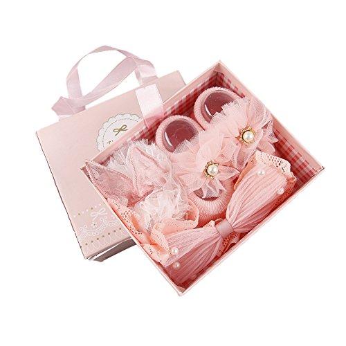 ? BOBORA ? Newborn Baby Girl Organic Anti Slip Socks + Girl's Flower Crown Headbands Sets with Gift Box- Best Baby Shower Gift by BOBORA