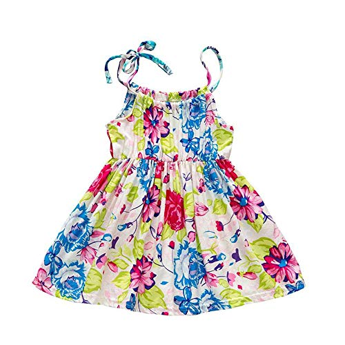 YOUNGER TREE Toddler Baby Girls Summer Floral Dress Sleeveless Princess Party Casual Holiday Dress Beach Sundress (Multicoloured, 9-12 Months)