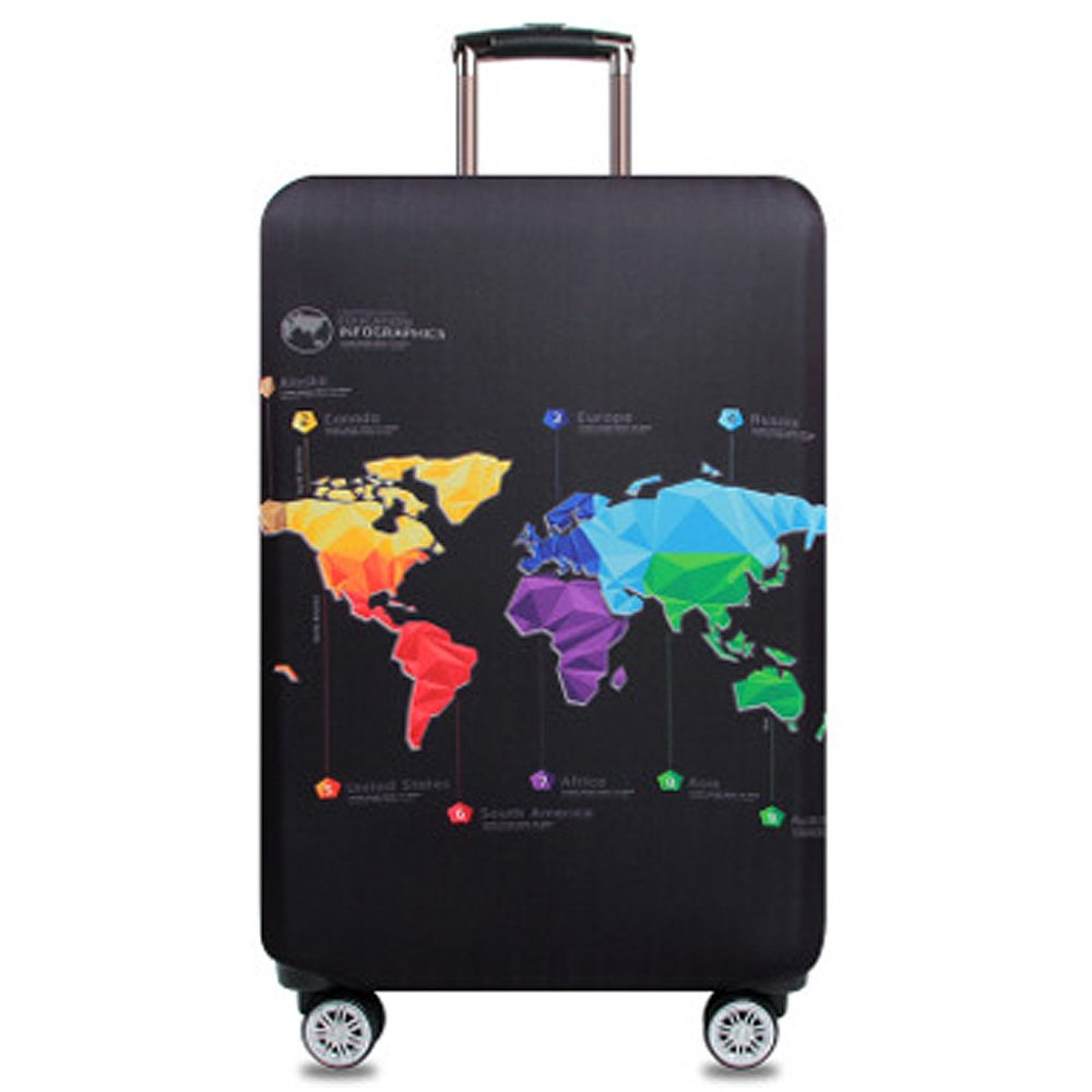 Washable Travel Luggage Cover Funny Cartoon Suitcase Protector Fits 18-32 Inch (S(18''-20'' luggage), Map)