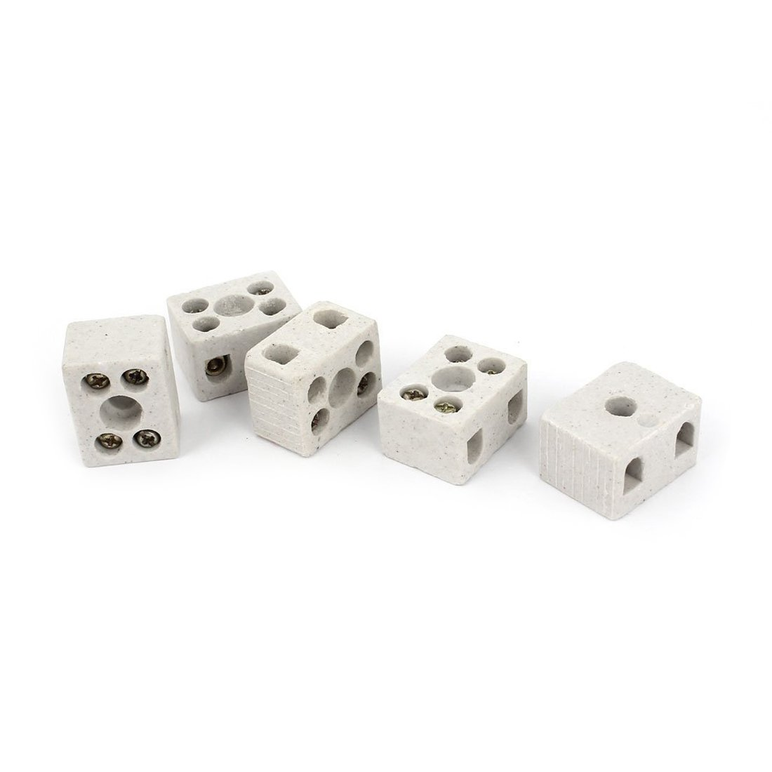 SODIAL(R) 5 Pcs 2 Way 5 Hole 2W5H Ceramic Terminal Block Wire Connector 5A