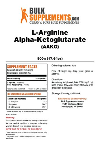BulkSupplements Pure L-Arginine a-Ketoglutarate (AAKG) Powder (500 grams) by BulkSupplements (Image #1)