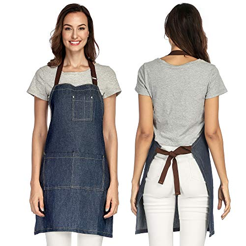 UNISI Cross Back Aprons for Women, Apron Artist Overall, Bulk Aprons Adult Apron, Work Apron, Black Aprons, Gifts for Her,Apron with Pockets, Craft Cotton, Adjustable M to XXXL(Tidal Blue)