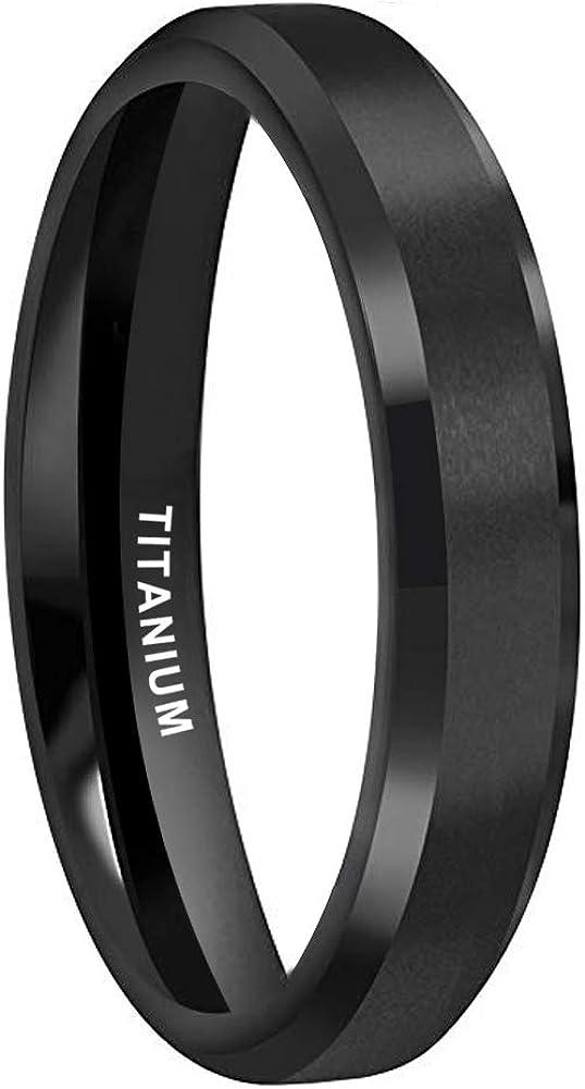 iTungsten 4mm 6mm 8mm Silver/Black/18K Gold Titanium Rings for Men Women Engagement Wedding Bands Beveled Edges Matte Finish Comfort Fit