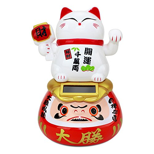 A White Beckoning Maneki Neko Fortune Cat Japanese Oriental on Daruma Doll Solar Toy Housewarming Gift Home Decor B11874 ~ We Pay Your Sales Tax