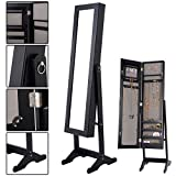 Mirrored Jewelry Cabinet Armoire Mirror Organizer Storage Box Ring w/ Stand Solid MDF body and elegant mirror Powerful storage capacity