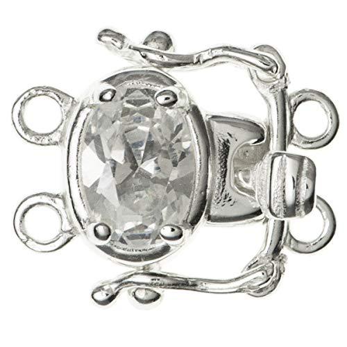 FidgetFidget 1x Sterling Silver Pearl Box Cz Crystal 2 Strand Row Clasp 15mm SC347W