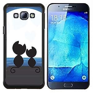 YiPhone /// Prima de resorte delgada de la cubierta del caso de Shell Armor - Gatos Amor Pareja Pareja Moonlight Arte Negro - Samsung Galaxy A8 A8000