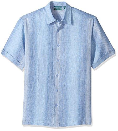 Vertical Stripe Shirt Woven (Cubavera Men's Short-Sleeve 100% Linen Yarn Dye Ombre Stripe Woven Shirt, Delft, M)