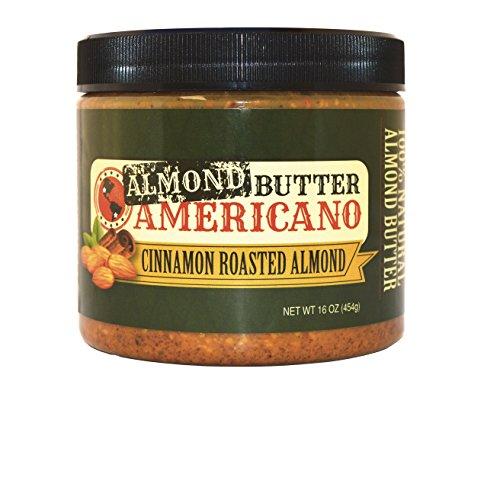 PB Americano All-Natural Gourmet Crunchy CINNAMON Roasted Almond Nut Butter – Low Net Carb, Low Sugar, Non-GMO & Vegan, 16 Oz (Single)