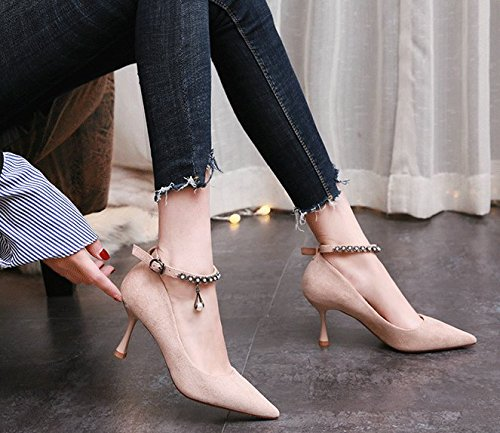 Work Pointed Heel 6 Buckle High Lady Spring Elegant 39 Single One Women'S Leisure Shoes Thin MDRW 5Cm Beige Simple Shallow Heels Word Shoes E0qwxCx4