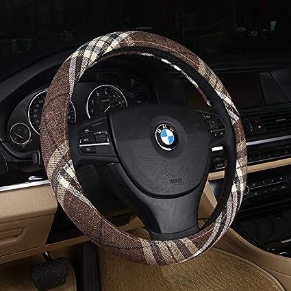 DuoDuoBling Boho Cloth Steering Wheel Cover for Women Men 2019 e46 Coffee