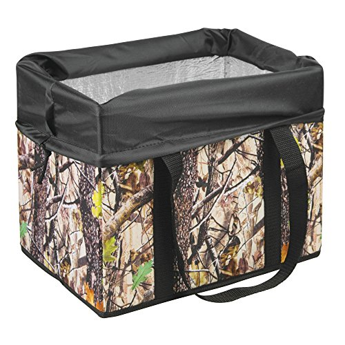 Swiss+Tech ST80360 Woodland Auto Trunk Cooler Storage Organizer Bin with Insulation for Groceries, Drinks, Travel - Deep Forest/Black