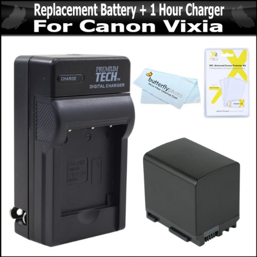 S30 Replacement - Replacement BP-819 2100MAH Battery + Rapid Charger For Canon Vixia HF10 HF20 HF11 HF S10 M300 HF M30 HF M31 M32 M40 M41 HF S200 H S20 HF S21 S30 S40 S400 HF200 HG20 HG21 Camcorder + Free Pack Of LCD Armor