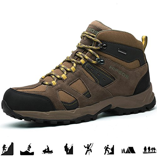 Image of HIFEOS Mid Hiking Boots for Mens Womens Unisex Suede Leather Outdoor Waterproof Backpacking Shoes Khaki 8 B(M) US