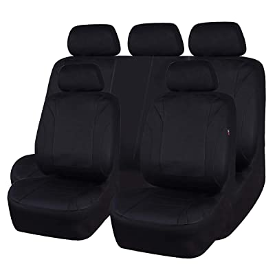 CAR PASS Waterproof Neoprene EVA 11 Piece Universal fit Car Seat Covers, Fit for SUVS,Vans,Trucks,SEDANS,Airbag Compatible,Insider Zipper Design(Black and Black): Automotive