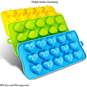 HelpCuisine Silicone moulds baking, Silicone molds ice cube tray for Hearts, Stars & Shells, Pack of 3 -Ideal for chocolate, candles, jello ecc, BPA free and FDA approved, 24 months warranty, Make Happy your Kids