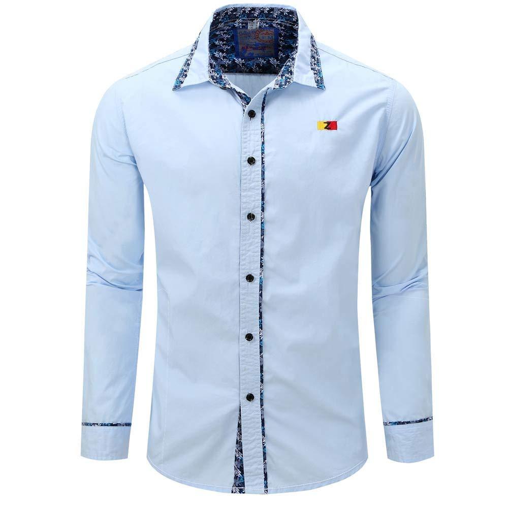 BaZhaHei, Polo de Hombre, Hombre Color Puro botón de Manga Larga Color Pure básico Blusa Camiseta Tops Hombre de Manga Larga de Color sólido para Hombres ...