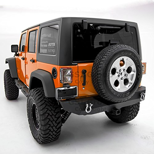 GSI Heavy Duty Rock Crawler Rear Bumper With 2'' Hitch Receiver-Textured Black for 07-17 Jeep Wrangler JK