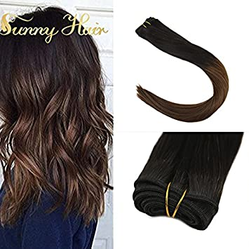 Amazon Com Sunny 16inch Sew In Human Hair Extensions Natural Black