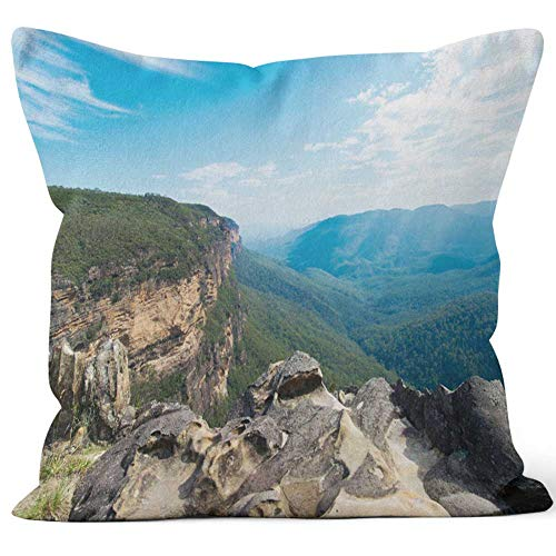 Nine City Lookout Over Jamison Valley Blue Mountains in Australia Throw Pillow Cushion Cover,HD Printing Decorative Square Accent Pillow Case,20