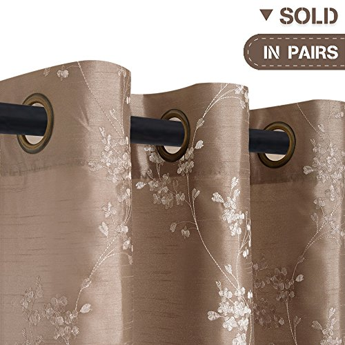 Faux Silk Floral Embroidered Grommet Top Curtains for Bedroom, One Pair, W54″ x L84″ ...