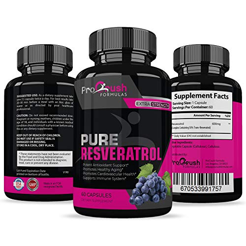 Pure Resveratrol- Natural Red Wine Antioxidant Supplement. Supports Heart Health, Weight Loss, Immune System, Cardiovascular Health with Anti-Aging Benefits for a Healthier Life for Men & Women. (Best Red Wine For Weight Loss)