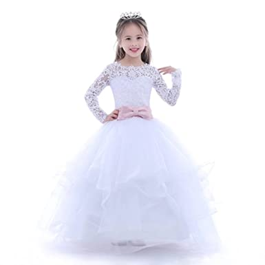 a55486e485 Angel Dress Shop White Lace Flower Girl Dresses Long Sleeves Ball Gown  First Communion Dress Wedding